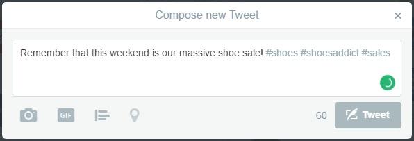 Twitter hashtag example 1