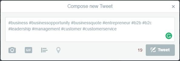 Twitter hashtag example 2
