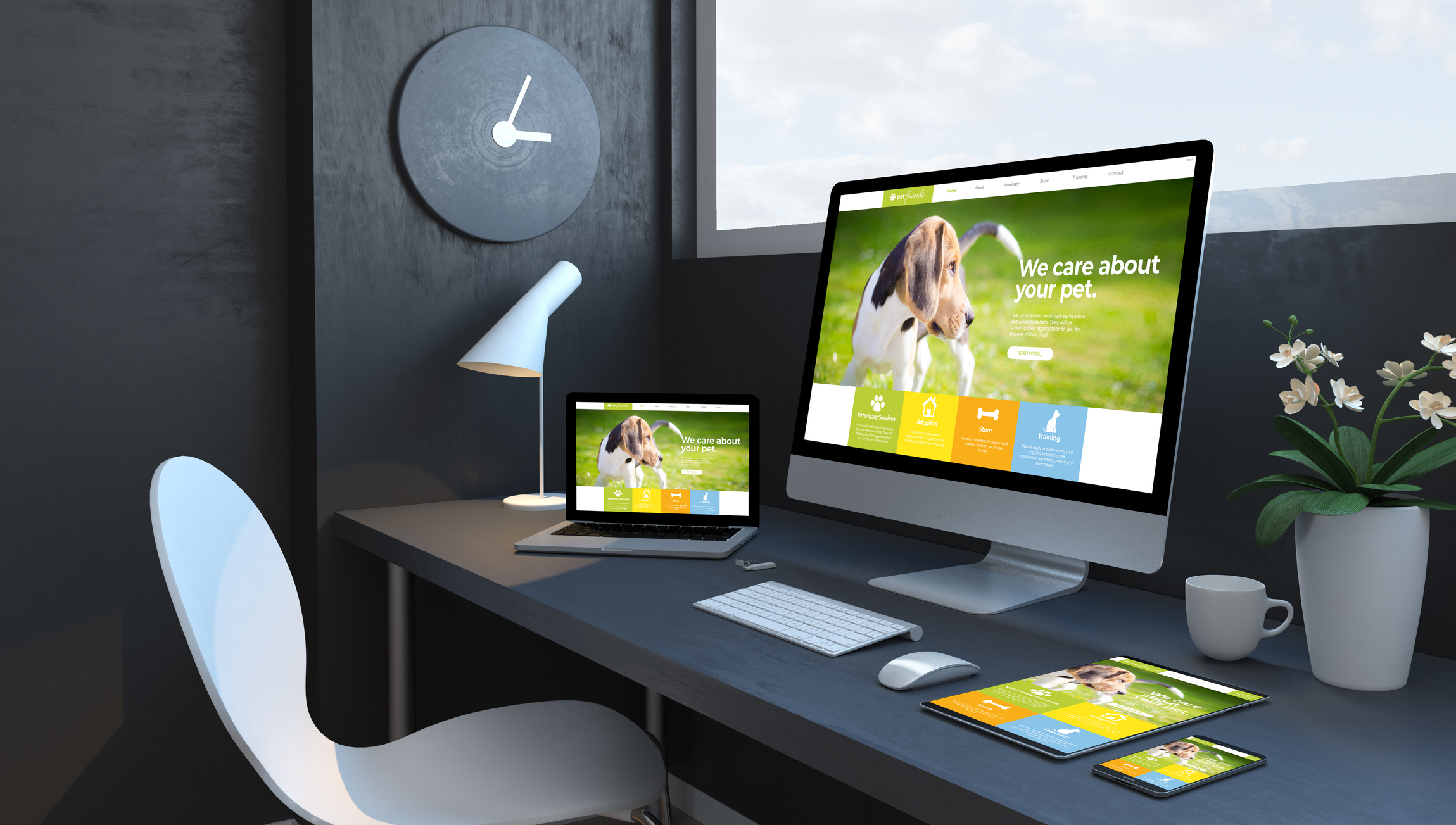 Navy blue workspace with responsive devices 3d rendering pet web design